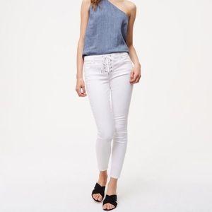 Ann Taylor LOFT White Lace Up Modern Skinny Jeans